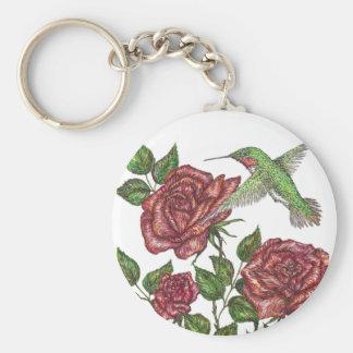 Rose and Hummingbir Basic Round Button Keychain