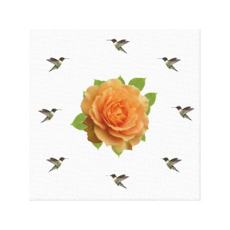 Rose And Hummingbirds Canvas Print