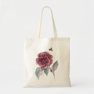Rose and Ladybugs, Sumi-e in color Canvas Bag