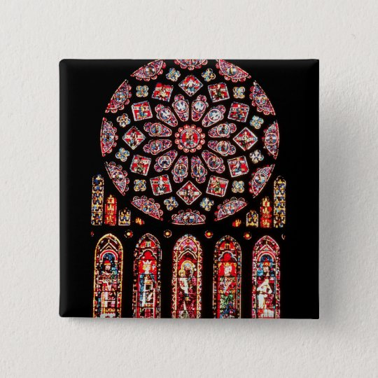 Rose and lancet windows from the north wall pinback button