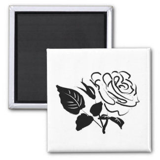 Rose and Leaves Sketch 2 Inch Square Magnet