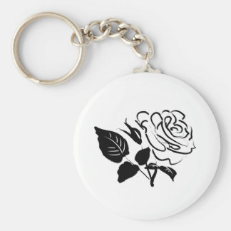 Rose and Leaves Sketch Key Chains