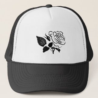 Rose and Leaves Sketch Trucker Hat