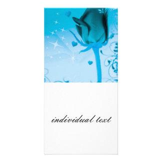 rose and love aqua photo card