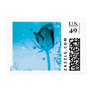 rose and love aqua postage stamp