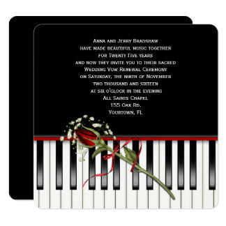 Rose and Piano Wedding Vow Renewal Card