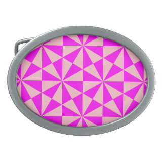Rose and pink triangles pattern belt buckles