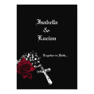 Rose and Rosary Goth Wedding Card