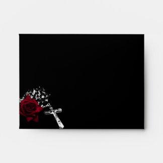 Rose and Rosary Goth Wedding Envelope