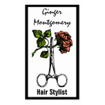 Rose and Scissors Hair Stylist Business Card Business Card Template