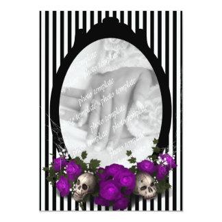 Rose and Skull Frame Goth Wedding Invitation