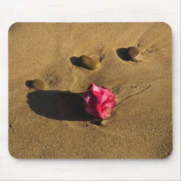 Beach Themed Rose and Stones Mouse Pad