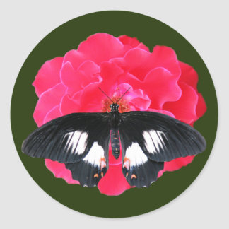 Rose and Swallowtail Classic Round Sticker