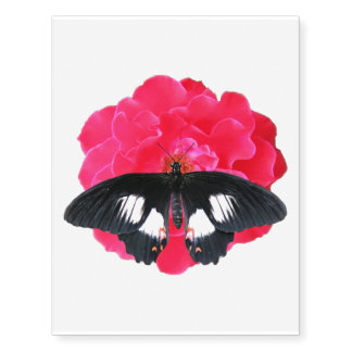 Rose and Swallowtail Temporary Tattoos