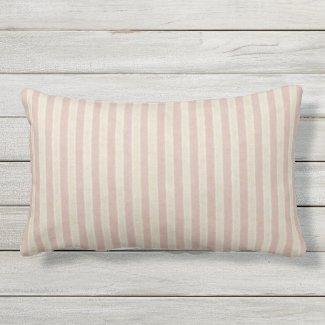 Rose and Tan Stripe Outdoor Lumbar Throw Pillow