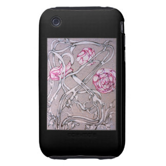 Rose and Thorn, On Black. Tough iPhone 3 Case