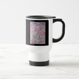 Rose and Thorn, On Black. Travel Mug