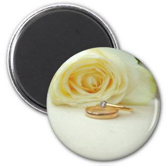 Rose and Wedding Ring 2 Inch Round Magnet