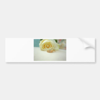 Rose and Wedding Ring Bumper Sticker