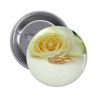 Rose and Wedding Ring Pinback Button
