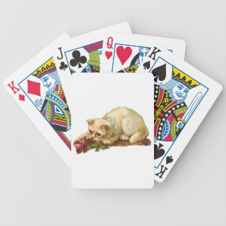 Rose and White Cat Playing Cards