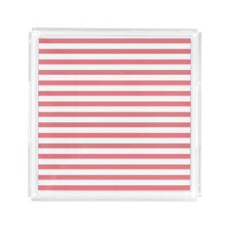 Rose and White Horizontal Stripe Square Serving Trays