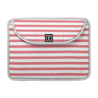 Rose and White Horizontal Stripe Sleeves For MacBook Pro