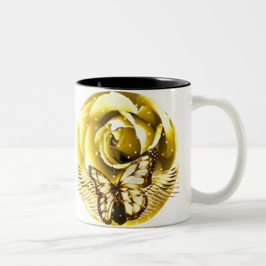 Rose andthe butterfly_ Two-Tone coffee mug