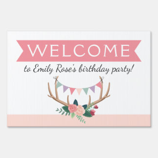 Rose Antlers & Party Bunting Birthday Decor Yard Sign