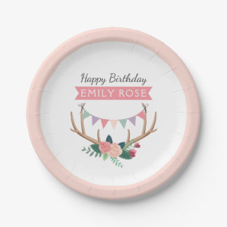 Rose Antlers & Party Bunting Girl's Birthday Paper Plate