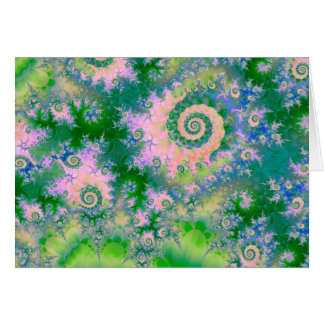 Rose Apple Green Dreams, Abstract Water Garden Card