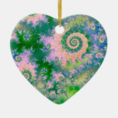 Rose Apple Green Dreams, Abstract Water Garden Ceramic Ornament