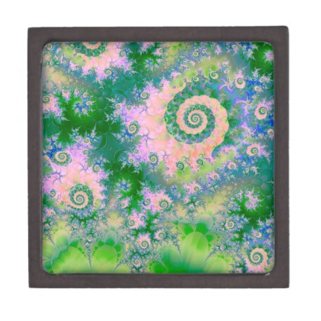 Rose Apple Green Dreams, Abstract Water Garden Keepsake Box