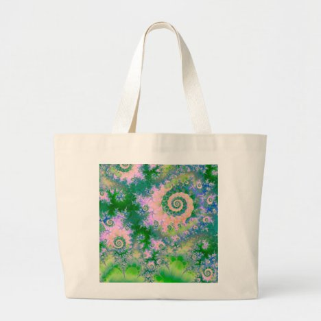 Rose Apple Green Dreams, Abstract Water Garden Large Tote Bag
