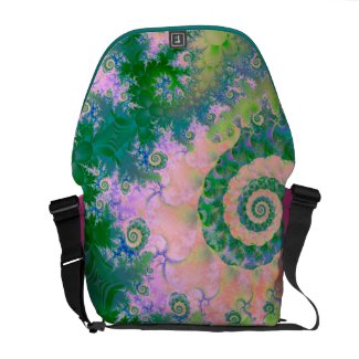 "Beautiful green swirls spiraling into a pink cloud. Get pulled in and mesmerized by this stunning design shown here or a messenger bag.  This is what Diane says about this artwork: ""Enchanting rose and soft green spiraling into a delightful journey. Violet purple, forest and light green add to the feeling of a garden. But these beautiful designs are actually an ocean underwater. It gives the sense of a lovely meadow and garden under the sea, Orchid, lavender, indigo and other shades of purple, green and blue create this image, with highlights of pink, amber and coral.""  see more products with this artwork"