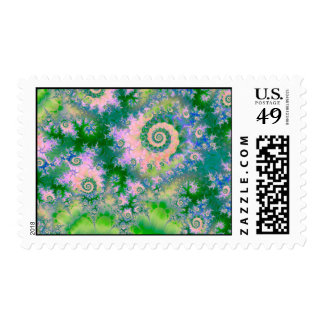 Rose Apple Green Dreams, Abstract Water Garden Postage