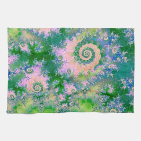Rose Apple Green Dreams, Abstract Water Garden Towel