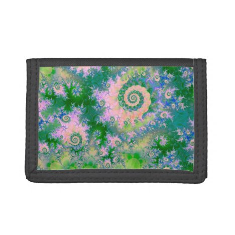 Rose Apple Green Dreams, Abstract Water Garden Trifold Wallet