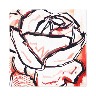 Rose art - red pop pose canvas - red rose drawing