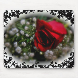Rose & Baby's Breath Mouse Pad
