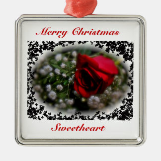 Rose & Baby's Breath Sweetheart Christmas Ornament