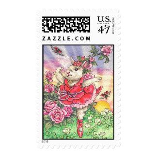 Rose Ballerina Bunny Postage Stamp