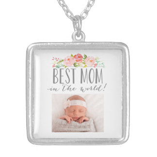 Rose Banner Best Mom In The World | Photo Silver Plated Necklace