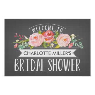 Rose Banner Bridal Shower Welcome Poster