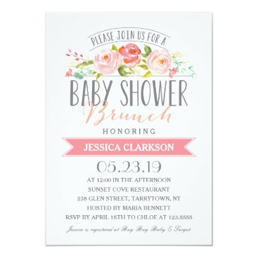 Toddler & Baby themed Rose Banner Brunch | Baby Shower Invitation