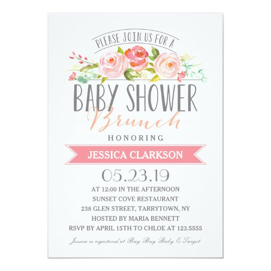 Rose Banner Brunch Baby Shower Invitation
