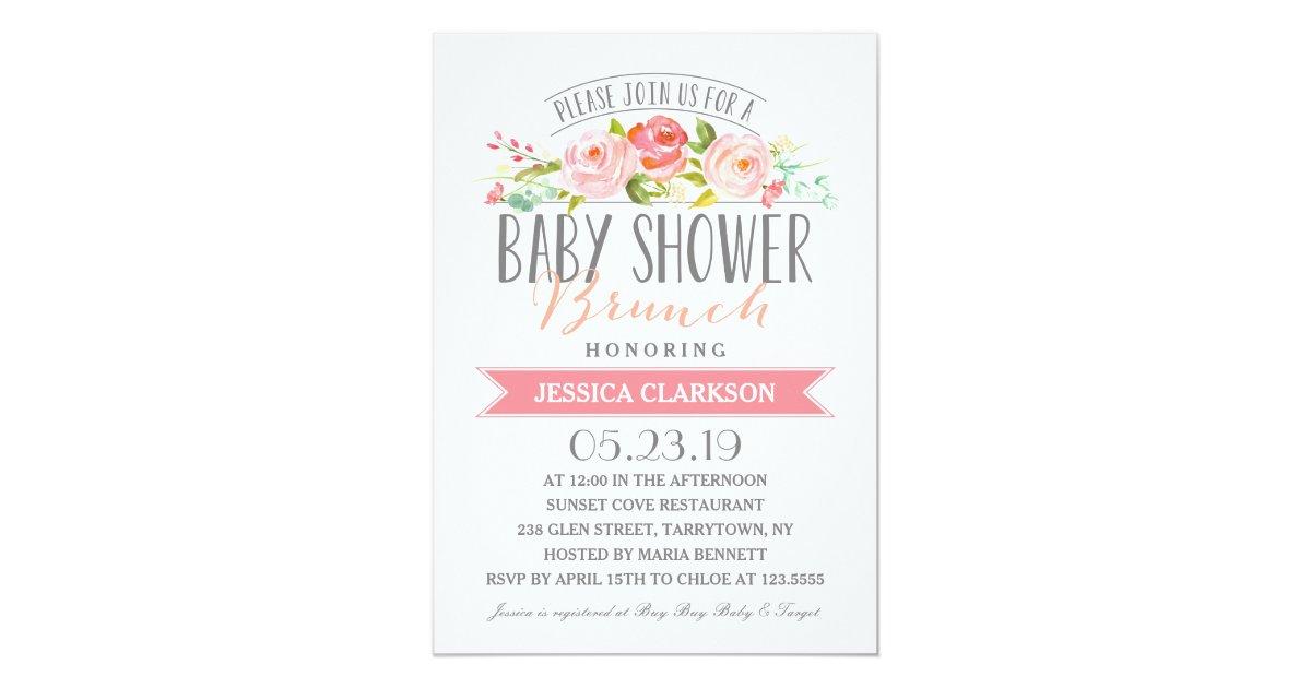 Rose Banner Brunch | Baby Shower Invitation | Zazzle.com