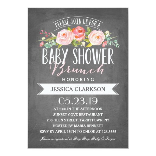 rose banner brunch baby shower invitation zazzle