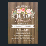 """Rose Banner Brunch   Bridal Shower Card<br><div class=""""desc"""">This Bridal Shower Invitation features lovely watercolored flowers and a mix of modern typography,  all on a trendy rustic background. Send your guests an invite they won&#39;t forget! For an even more memorable invitation select a die-cut shape,  textured paper or a double thick paper.</div>"""