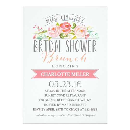 74114a043ee4 Rose Banner Brunch Bridal Shower Invitation
